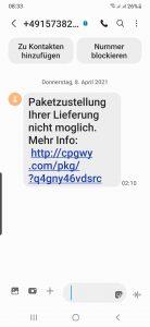 Fake-SMS für Paketzustellung